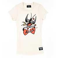 Love Bird Flash Girls Shirt by Sailor Jerry - on Cream - SALE sz L only