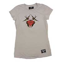 Swallows Heart Flash Girls Shirt by Sailor Jerry - on Silver - SALE