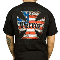 Terror- Iron Cross on front, Don't Forget The Struggle on back on a black shirt (Sale price!)