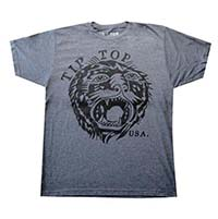 Tip Top Tattoo Tiger on a dark gray ringspun cotton shirt