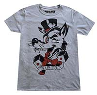 Tip Top Tattoo Wolf on a gray ringspun cotton shirt - SALE sz XL only