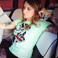 Tip Top Women's Tattoo Wolf on a fitted shirt  - Green - SALE sz S only