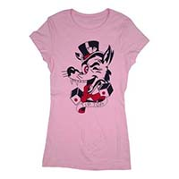 Tip Top Women's Tattoo Wolf on a fitted shirt  - Pink - SALE sz S only