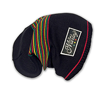 Bob Marley- Black With Rasta Stripes Scrunch Beanie