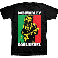 Bob Marley- Soul Rebel on a black ringspun cotton shirt