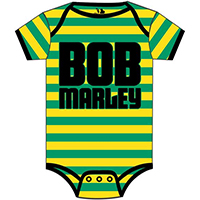 Bob Marley- Logo on a green & yellow striped onesie