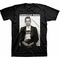 Johnny Cash- American Rebel (Mug Shot) on a black ringspun cotton shirt (Sale price!)
