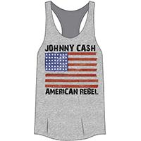 Johnny Cash- American Rebel on a heather grey girls racerback tank shirt (Sale price!)